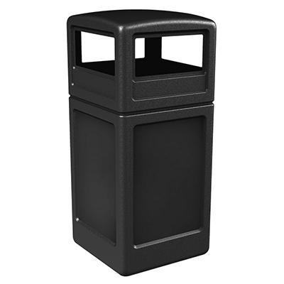 Commercial Zone Square Waste Container with Dome Lid, Polyethylene, 42-gal, Black