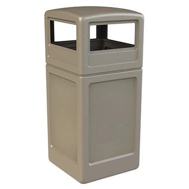 Commercial Zone Square Waste Container with Dome Lid, Polyethylene, 42-gal, Beige