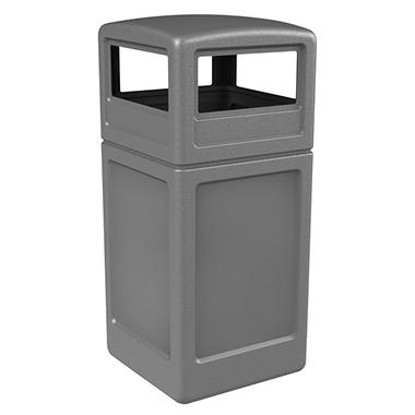 Commercial Zone Square Trash Can with Dome - Gray - 38 gal.
