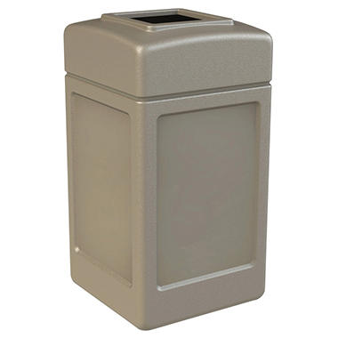 Commercial Zone Square Waste Container, Open Top Lid, Polyethylene, 42-gal, Beige