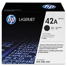HP 42 Original Laser Jet Toner Cartridge, Black, Select Type