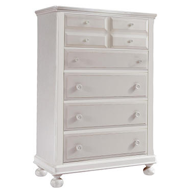 Hamilton Collection 5 Drawer Chest - Rubbed White
