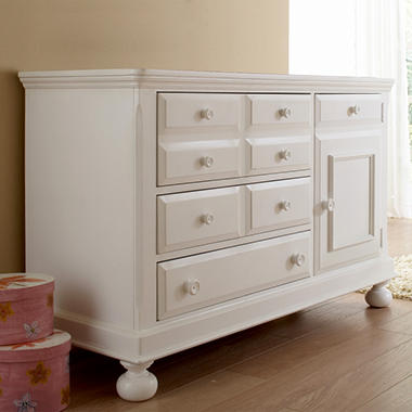 Hamilton Collection Combo Dresser Hutch - Rubbed White