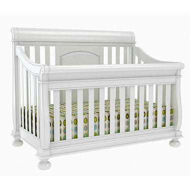 Hamilton Collection Sleigh Crib with Guard Rails - Rubbed White