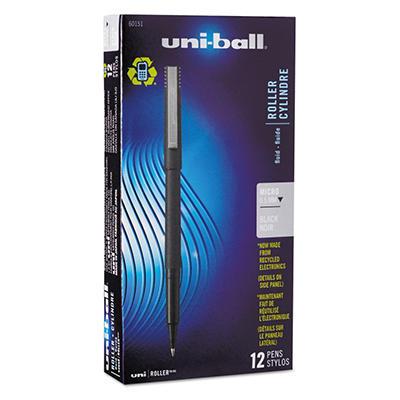 uni-ball - Roller Ball Stick Dye-Based Pen, Black Ink, Micro - 12 Pens