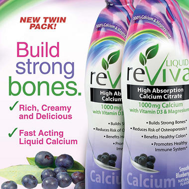 Liquid ReViva Calcium 1000mg Smooth Blueberry - 2 pk.