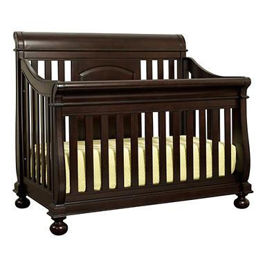 Hamilton Collection Sleigh Crib with Guard Rails - Espresso