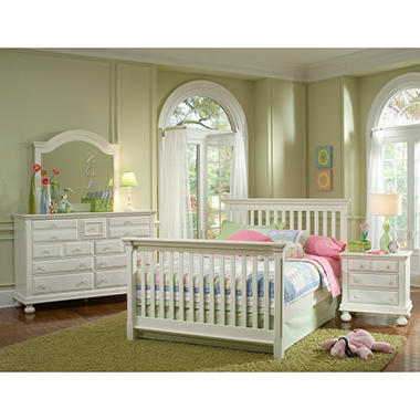 Hamilton Collection Crib Bed Rail Converter Kit  - Rubbed White