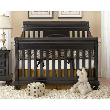 Hamilton Collection Sleigh Crib with Guard Rails - Antique Black