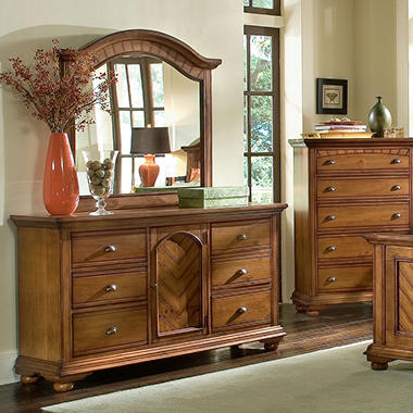 Addison Chestnut Dresser and Mirror .