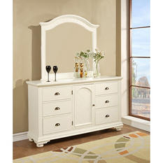 Addison White Dresser and Mirror