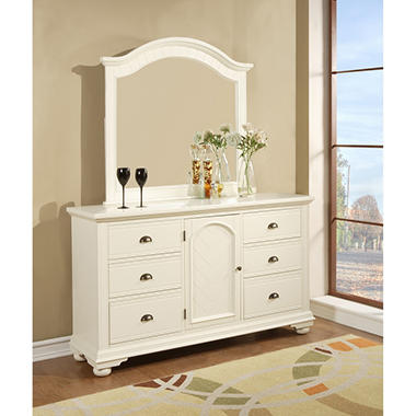 Addison White Dresser and Mirror   BP700DRWMRW