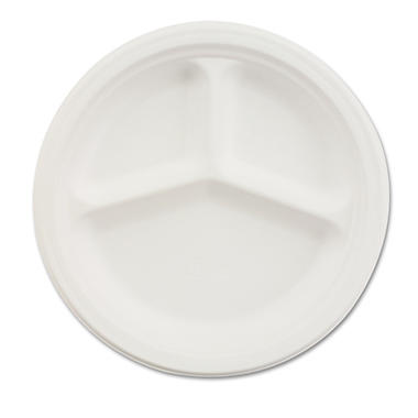 "Chinet 3-Compartment Paper Plate - 10 1/4"" - 500 ct."
