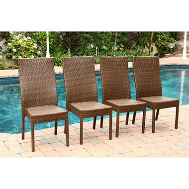 Sirio Outdoor Wicker Dining Chairs Brown Set of 4 Sam