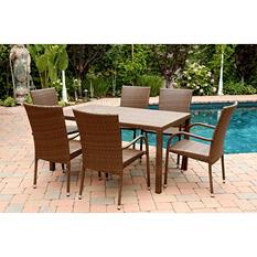 Newport Outdoor Wicker 7-Piece Dining Set, Brown
