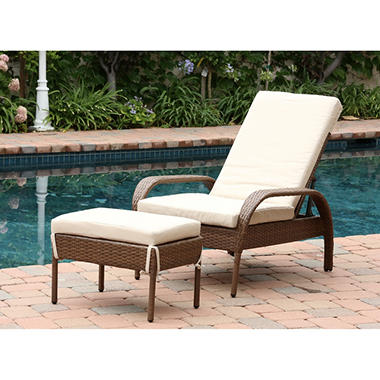 Kingsley Outdoor Wicker Chaise Lounge with Cushion Brown
