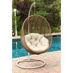 Regency Outdoor Light Beige Wicker Swing Chair