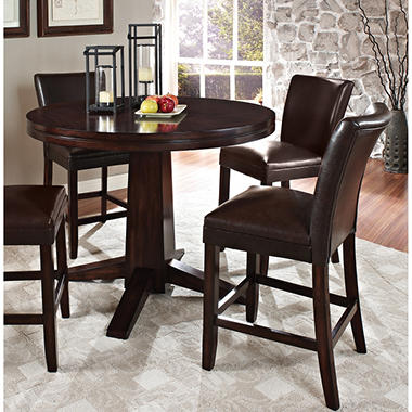 Harding Counter Height Dining Set - 3 pc. - Dark Brown Leather Chairs ...