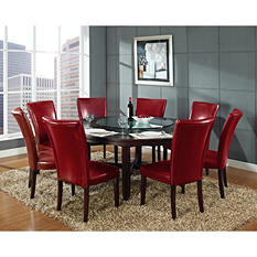 "Harding 72"" Round Dining Set - 9 pc. -  Red Leather Chairs"