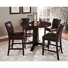 Harding Counter Height Dining Set - 5 pc. -  Dark Brown Leather Chairs