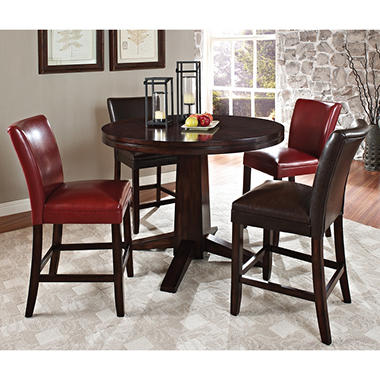 Harding Counter Height Dining Set 5 Pc 2 Dark Brown And 2 Red Leather Chairs Sam 39 S Club