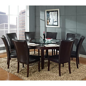 "Harding 72"" Round Dining Set - 9 pc. -  Dark Brown Leather Chairs"