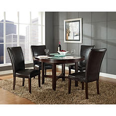 "Harding 72"" Round Dining Set - 5 pc. -  Dark Brown Leather Chairs"