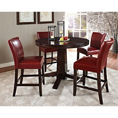 Harding Counter Height Dining Set - 5 pc. -  Red Leather Chairs