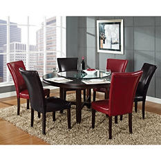 "Harding 72"" Round Dining Set - 5pc. - 2 Dark Brown and 2 Red Leather Chairs"