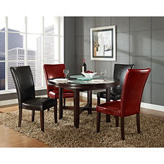 "Harding 62"" Round Dining Set - 5 pc. -  2 Dark Brown and 2 Red Leather Chairs"
