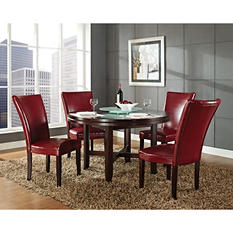 "Harding 62"" Round Dining Set - 5 pc. -  Red Leather Chairs"