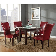"Harding 52"" Round Dining Set - 5 pc. - Red Leather Chairs"