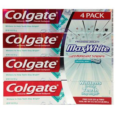 Colgate MaxWhite Toothpaste, Crystal Mint  (7.8 oz., 4 pk.)