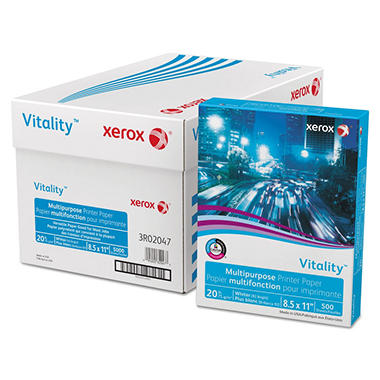 Xerox® Vitality Multipurpose Printer Paper, 8 1/2 x 11, White, 200,000 Sheets