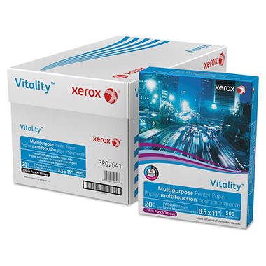 Xerox® Vitality Multipurpose 3-Hole Punched Paper, 8 1/2 x 11, White, 5,000 Sheets