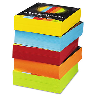 Wausau Paper - Astrobrights Colored Paper, 8-1/2 x 11, Assorted - 2500 Sheets/Carton