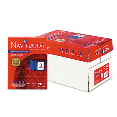 Navigator - Premium Multipurpose Paper, 97 Brightness, 3-Hole Punch, Letter, White - 5000/Carton