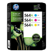 HP 564XL High Yield Original Ink Cartridge, Cyan/Magenta/Yellow (3 pk., 750 Page Yield)
