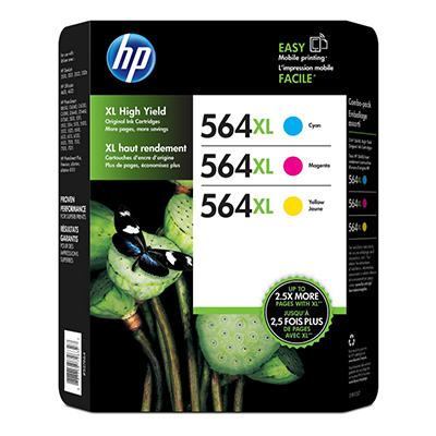 HP 564XL High Yield Original Ink Cartridge & Photo Paper, Cyan/Magenta/Yellow (3 pk., 750 Page Yield)