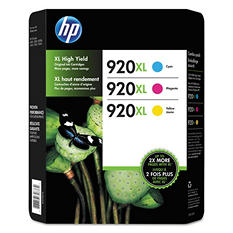 HP 920XL High Yield Original Ink Cartridge & Photo Paper, Cyan/Magenta/Yellow (3 pk., 700 Page Yield)