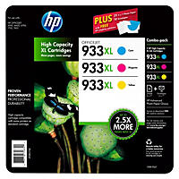 HP 933XL High Yield Original Ink Cartridge, Cyan/Magenta/Yellow (3 pk., 825 Page Yield)