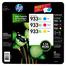 HP 933XL High Yield Original Ink Cartridge & Photo Paper, Cyan/Magenta/Yellow (3 pk., 825 Page Yield)