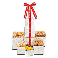 Golden Decadence Tower of Sweets with Custom Ribbon