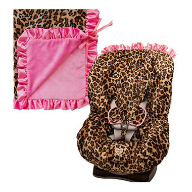Baby Bella Maya Booster Seat Cover and Blanket - Lollipop Leopard
