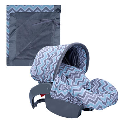 Baby Bella Maya Infant Car Seat Cover and Blanket - Peek A Blue