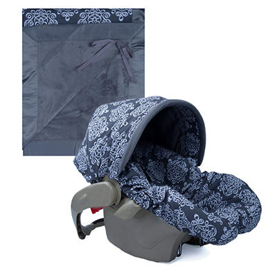 Baby Bella Maya Infant Car Seat Cover and Blanket - Royal Mist