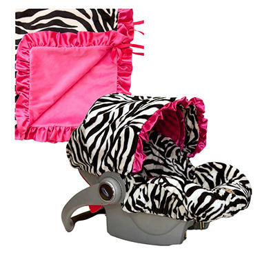 Baby Bella Maya Infant Car Seat Cover and Blanket - Zoe Zebra