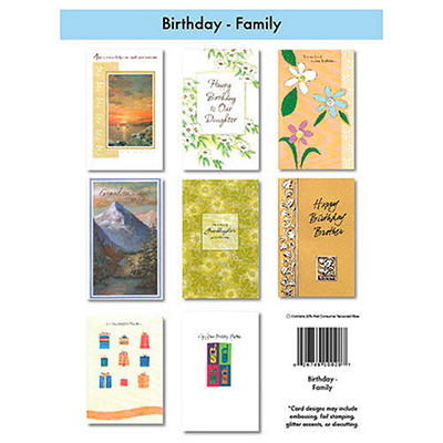 Family Birthday Greeting Cards - 12/6 pks.