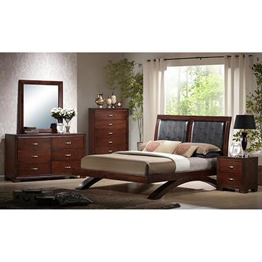 Zoe Bedroom Set with Padded Headboard - Queen - 6 pc..