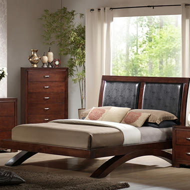 Zoe Queen Bed with Padded Headboard.